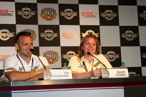 Driver Ed Carpenter and team owner Sarah Fisher ...