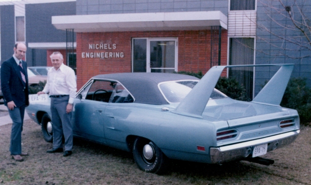 John Moran of the US Environmental Protection Agency takes delivery of the 1970 Nichels Engineering Plymouth Superbird from legendary race car builder Ray Nichels in 1972.
