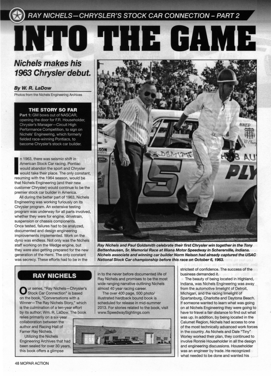 """Second book excerpt from """"The Ray Nichels Story"""" published in Mopar Action Magazine ..."""