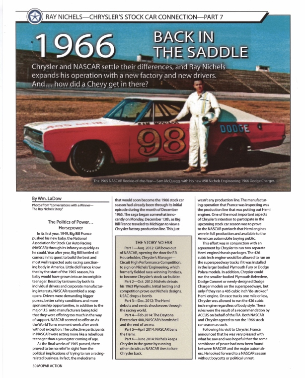 "Part Seven -- Book excerpt from the ""Ray Nichels Story"" by Wm. R. LaDow - published in Mopar Action Magazine …"