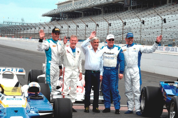 The Five Unsers: Robby, Bobby, Al Sr., Al Jr., and Johnny -- Photo by Jim Haines for the Indianapolis Motor Speedway ..