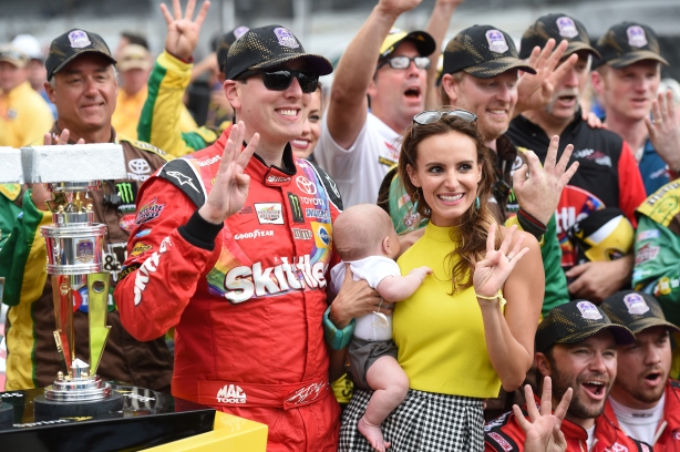 Kyle Busch wins the Crown Royal presents the Jeff Kyle 400 at the Brickyard at the Indianapolis Motor Speedway -- Image by Chris Owens