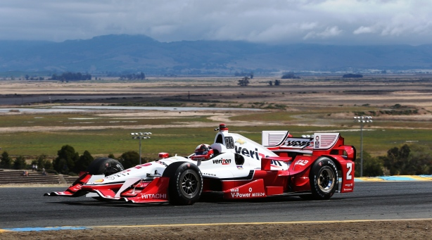 Juan Pablo Montoya crests the Turn 2 hill during practice for the GoPro Grand Prix of Sonoma at Sonoma Raceway - Image by Chris Jones
