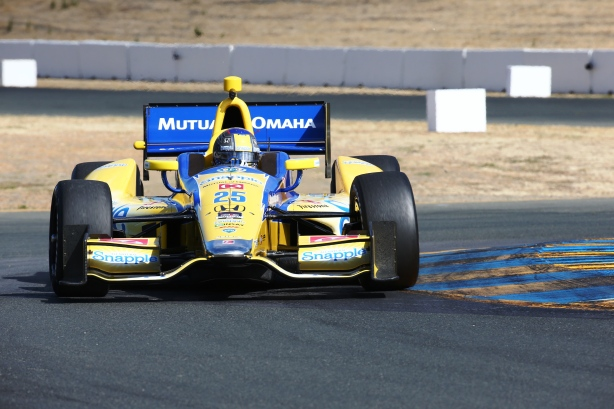 Marco Andretti navigates the Turn 9 Esses during practice for the GoPro Grand Prix of Sonoma -- Photo by Chris Jones