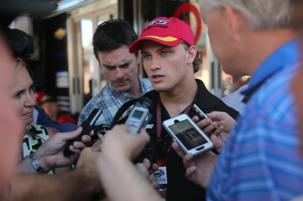 Sage Karam being interviewed during a press conference at Sonoma Raceway -- Image by: Chris Jones