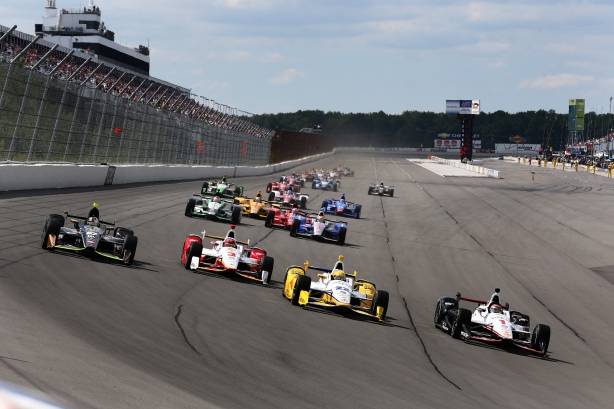 The day's racing brought about an abundunce of side by side racing. At one point, IndyCar drivers positioned themselves seven-wide across the Pocono Raceway track -- Photo by Bret Kelley