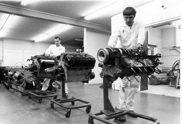"Martin ""Tope"" Phillip (on the right) working alongside Jerry Govert in 1968 at the Nichels Engineering ""Go-Fast Factory"" in Griffith, Indiana"
