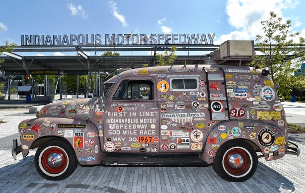 "1951 Chevrolet panel truck, formerly owned by Lawrence ""Larry"" Bisceglia, at IMS to discuss getting here early at IMS on Indy 500 Race Day -- Photo by Chris Owens"