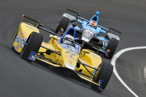 Speed leader of the day; Marco Andretti leads Andretti Autosport teammate Carlos Munoz into the short chute at Indianapolis -- Image by Chris Owens