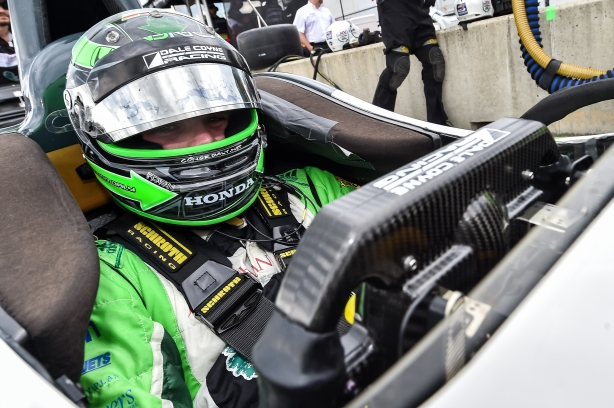 Conor Daly sits in his No. 18 Jonathan Byrd's Restaurants Honda on pit lane prior to practice - Image by Chris Owens