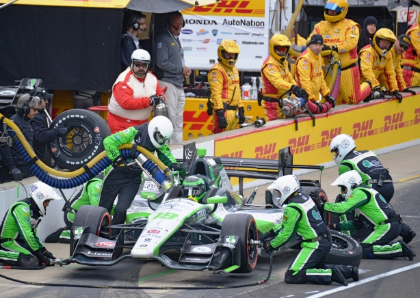 Conor Daly pits in his continuing pursuit of leading laps in the Grand Prix of Indianapolis - Image by Walt Kuhn
