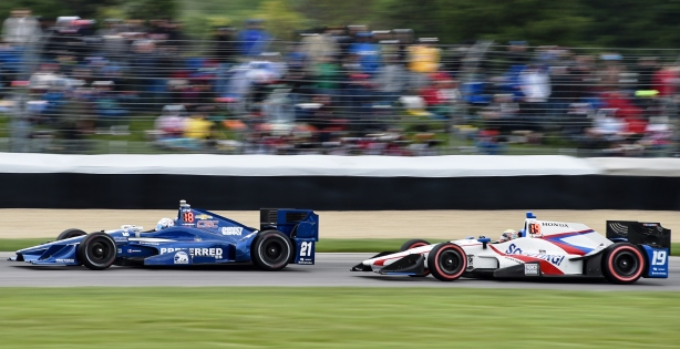 Gabby Chaves chasing Josef Newgarden during the Grand Prix of Indianapolis - Image by Chris Owens