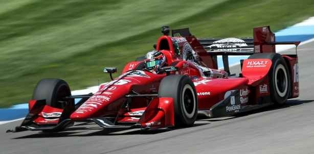 Graham Rahal qualifying for the Angie's List Grand Prix at the Indianapolis Motor Speedway -- Image by Joe Skibinski