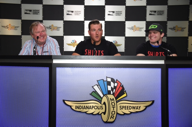 Pat McAfee announces his sponsorship of Conor Daly's No. 18 ShirtsForAmerica.com Honda with for the 100th Running of the Indy 500 presented by PennGrade Motor Oil -- Image by Jim Haines