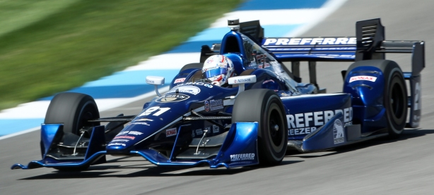 Josef Newgarden qualifying for the Angie's List Grand Prix at the Indianapolis Motor Speedway -- Image by Joe Skibinski