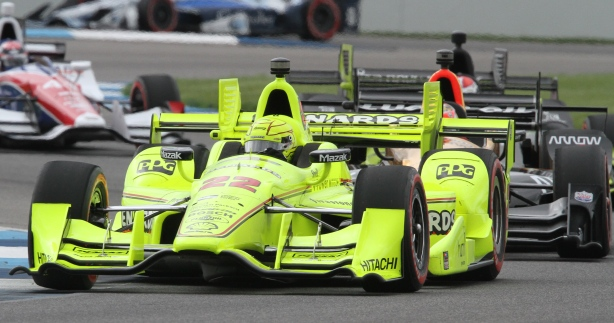 Simon Pagenaud leads the field for an impressive 57 of 82 laps in the Grand Prix of Indianapolis - Image by Mark Reed