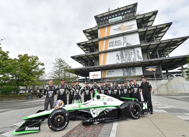 Sage Karam unveils his Indy Car that he will drive for the 100th Running of the Indy 500 -- Photo by Chris Owens