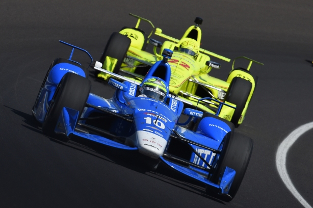 Tony Kanaan leads Simon Pagenaud through Turn 1 during practice for the 100th Indianapolis 500 -- Image by Chris Owens.jpg