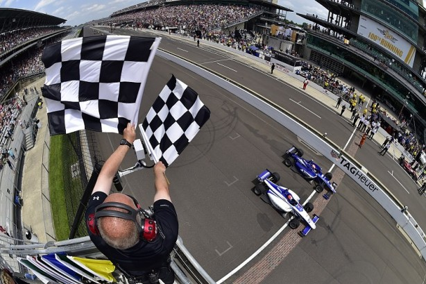 Andretti Autosport's Dean Stoneman beats Ed Jones by just two thousandths of a second in the Indy Lights Freedom 100 - Image by Walt Kuhn - IMS