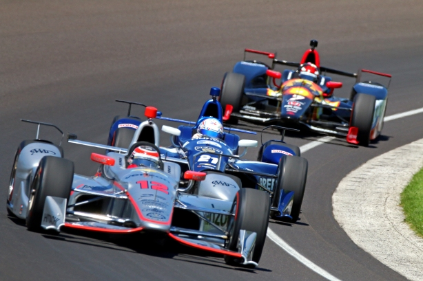 Will Power leads a pack of cars during practice for the 100th Indianapolis 500 -- Photo by Mike Harding.jpg