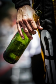 Empty champagne bottle of Graham Rahal following the Victory Lane celebration at Road America - Image by Shawn Gritzmacher