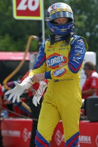 Scott Dixon adjust his gloves along pit lane prior to qualifications for the KOHLER Grand Prix at Road America -- Image by Joe Skibinski