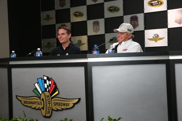 Jeff Gordon with Rick Hendrick during a press conference at IMS -- Image by Bret Kelley