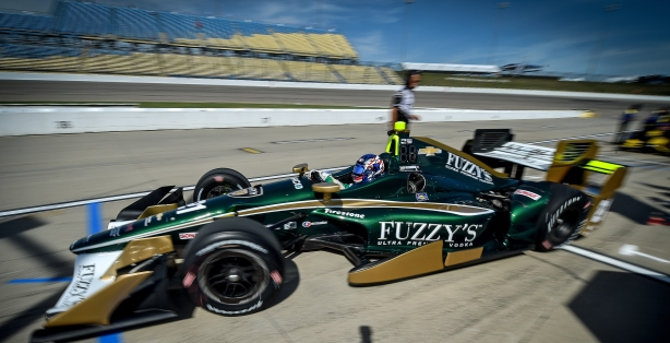 Josef Newgarden peels out of pit lane during practice for the Iowa Corn 300 at Iowa Speedway -- Image by Chris Owens