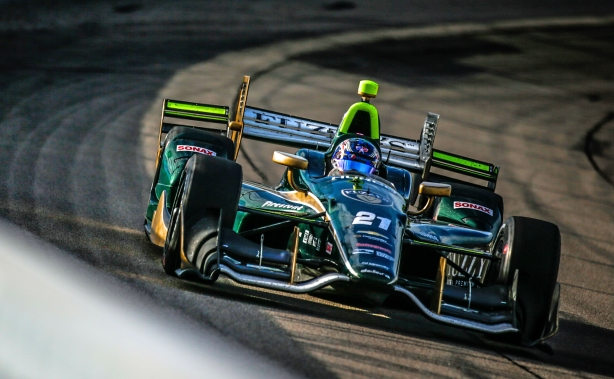 Josef Newgarden sets up for Turn 1 during the Iowa Corn 300 at Iowa Speedway -- Image by Shawn Gritzmacher