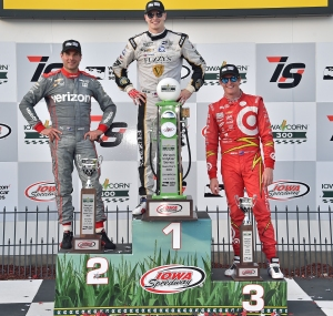 The Podium for the Iowa Corn IndyCar 300 - Image by Chris Owens