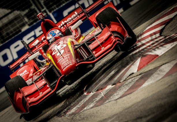 Scott Dixon flies over the apex of Turn 5 during practice for the Honda IndyCar Toronto -- Image by Shawn Gritzmacher