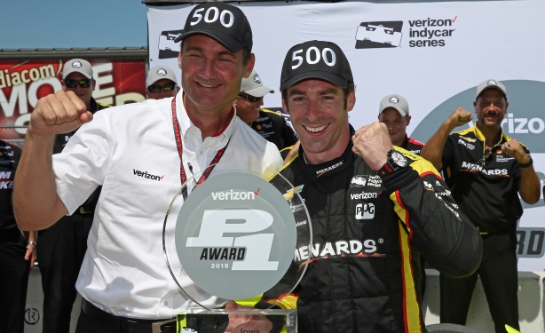 Team President Tim Cindric and Simon Pagenaud celebrate Team Penske's 500th overall pole position in the Iowa Corn 300 at Iowa Speedway -- Image by Chris Jones.jpg