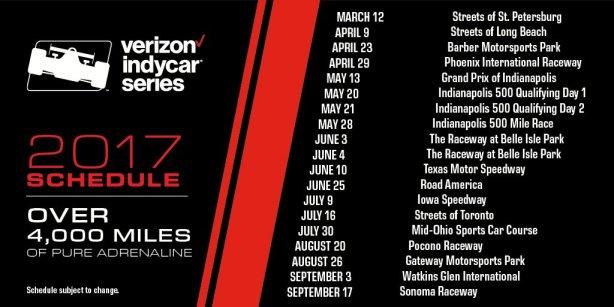 2017 IndyCar Schedule