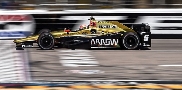 James Hinchcliffe crosses the start/finish line during practice for the Firestone 600 at Texas Motor Speedway -- IndyCar Image by: Chris Owens