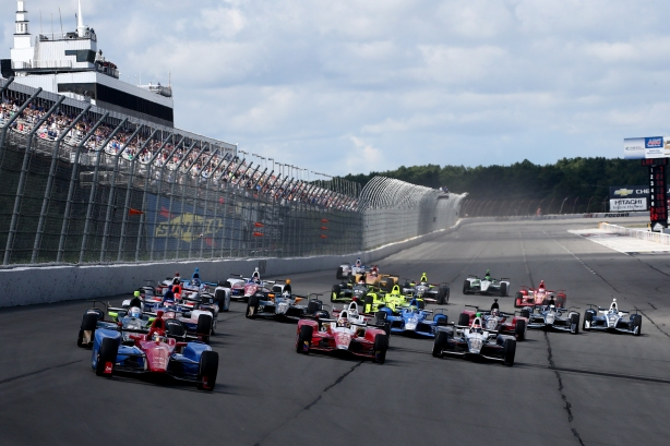 Mikhail Aleshin leads the field into Turn 1 at the start of the ABC Supply 500 at Pocono Raceway -- IndyCar Image by Bret Kelley