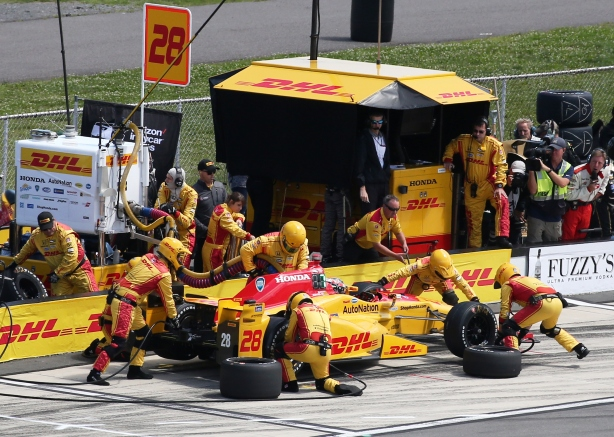 Ryan Hunter-Reay comes in for tires and fuel on pit lane during the ABC Supply 500 at Pocono Raceway -- IndyCar Image by Bret Kelley