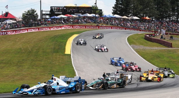 Simon Pagenaud leads the field through Turns 5 & 6 during the Honda Indy 200 at Mid-Ohio -- IndyCar Image by Joe Skibinski