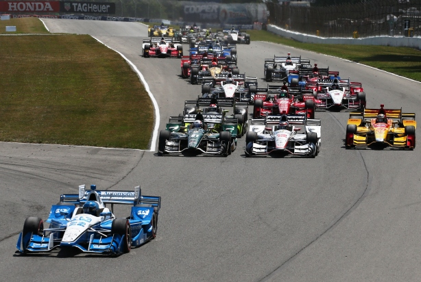 Simon Pagenaud leads the field to the green flag to start the Honda Indy 200 at Mid-Ohio -- IndyCar Image by Bret Kelley