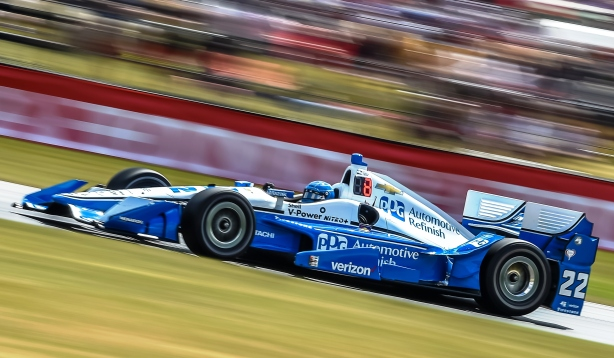 Simon Pagenaud sets up for Turn 5 during the Honda Indy 200 at Mid-Ohio -- IndyCar Image by Chris Owens