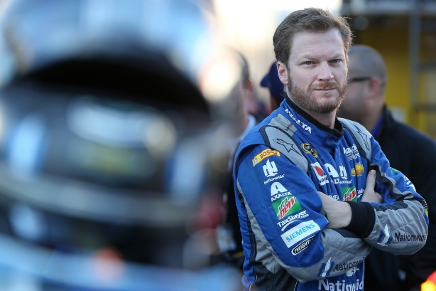 BRISTOL, TN - APRIL 16: Dale Earnhardt Jr., driver of the #88 Nationwide Chevrolet, stands in the garage area during practice for the NASCAR Sprint Cup Series Food City 500 at Bristol Motor Speedway on April 16, 2016 in Bristol, Tennessee. (Photo by Matt Sullivan/Getty Images)