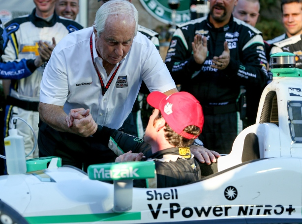 Roger Penske congratulates his driver Simon Pagenaud on winning the both the Sonoma IndyCar Grand Prix and 2016 IndyCar Championship - IndyCar Image by Joe Skibinski