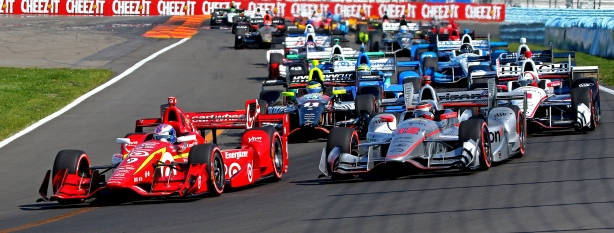 Scott Dixon and Will Power lead the field to the green flag to start the INDYCAR Grand Prix at The Glen from Watkins Glen International -- IndyCar Image by Mike Hard