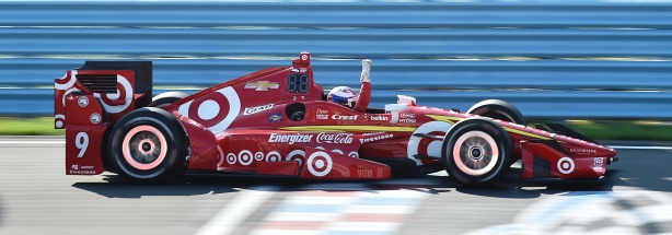 Scott Dixon begins the celebration as he wins the INDYCAR Grand Prix at The Glen from Watkins Glen International -- IndyCar Image by Chris Owens