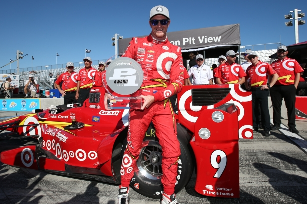 Scott Dixon with the Verizon P1 Award trophy for claiming the pole position for the INDYCAR Grand Prix at The Glen at Watkins Glen International -- Photo by Chris Jones