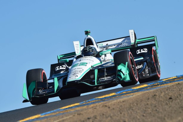 Simon Pagenaud crests the Turn 3A hill during qualifications for the GoPro Grand Prix of Sonoma at -- Photo by Chris Owens