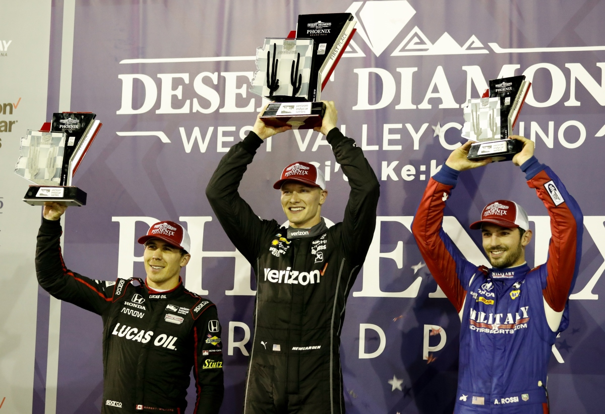 Team Penske's Newgarden makes late charge to Phoenix IndyCar Victory ...