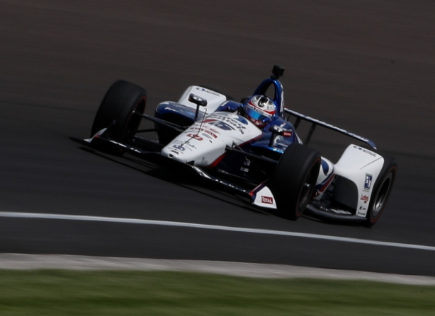 Graham Rahal screams into Turn 1 during practice for the 102nd Indianapolis 500 at the Indianapolis Motor Speedway -- IndyCar Image by Joe Skibinski
