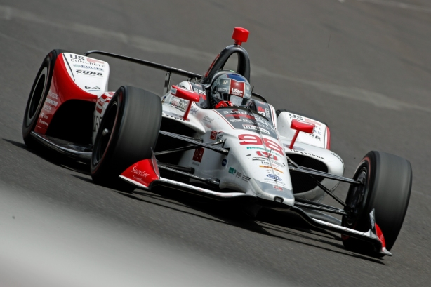 Marco Andretti leans into the corner with enough speed to top the practice chart on the second day of practice for the 102nd Indianapolis 500. -- Photo by Joe Skibinski