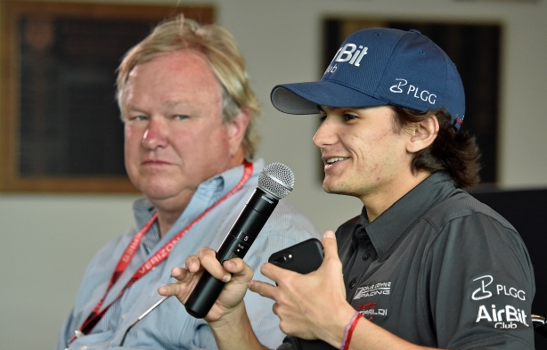 Pietro Fittipaldi and Dale Coyne during a press conference at the Indianapolis Motor Speedway discussing Pietro's recovery and impending racing return. -- IndyCar Image by Dana Garrett