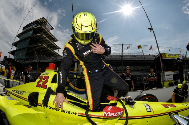 Simon Pagenaud steps into his No. 22 Menards Chevrolet on pit lane prior to practice for the 102nd Indianapolis 500 at the Indianapolis Motor Speedway -- IndyCar Image by Chris Owens